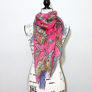 LOFT Pink Paisley Stripe Scarf w/ Fringes